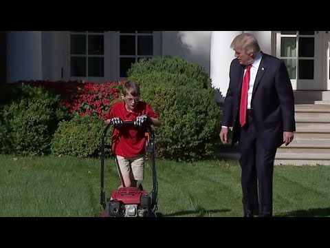11-Year-Old Mows The White House Lawn With President Trump Watching