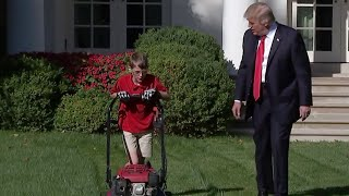 11-Year-Old Mows The White House Lawn With President Trump Watching thumbnail