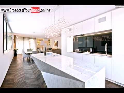 Wohnideen Küche Modern Weiß Hochglanz Marmor Kochinsel - YouTube