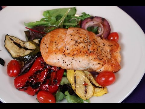 Seared Salmon with Mixed Greens & Grilled Vegetables