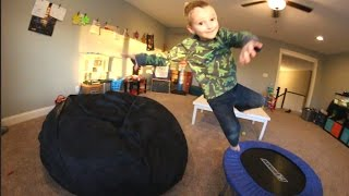 father son bean bag jumping time