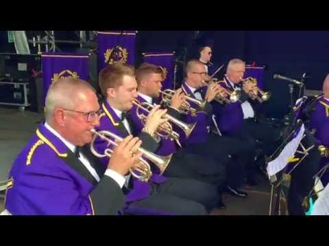 On Stage with Brighouse and Rastrick Brass Band - Carfest North 2016