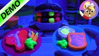 Play Doh Dr Shakytooth na may Kumikinang na Neon Paint - sa mga Ngipin at Pagkain | Play Doh Cookset