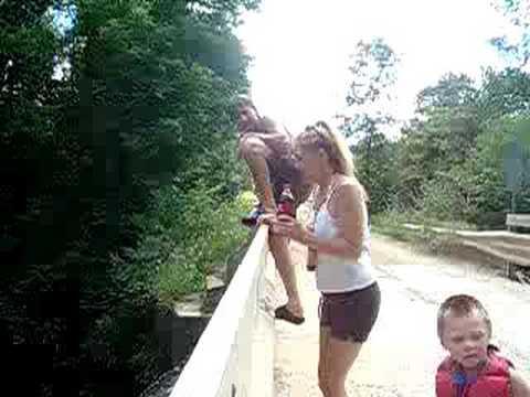 Barryton MI Aaron and Samantha jump from 20 Mile bridge