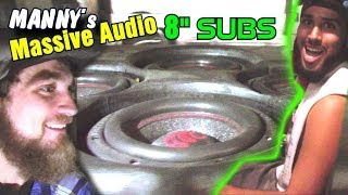 "Massive Audio HIPPO 8"" Subwoofers w/ Manny's LOUD Precision Power Speakers & Soundstream X3 Bass Amp"