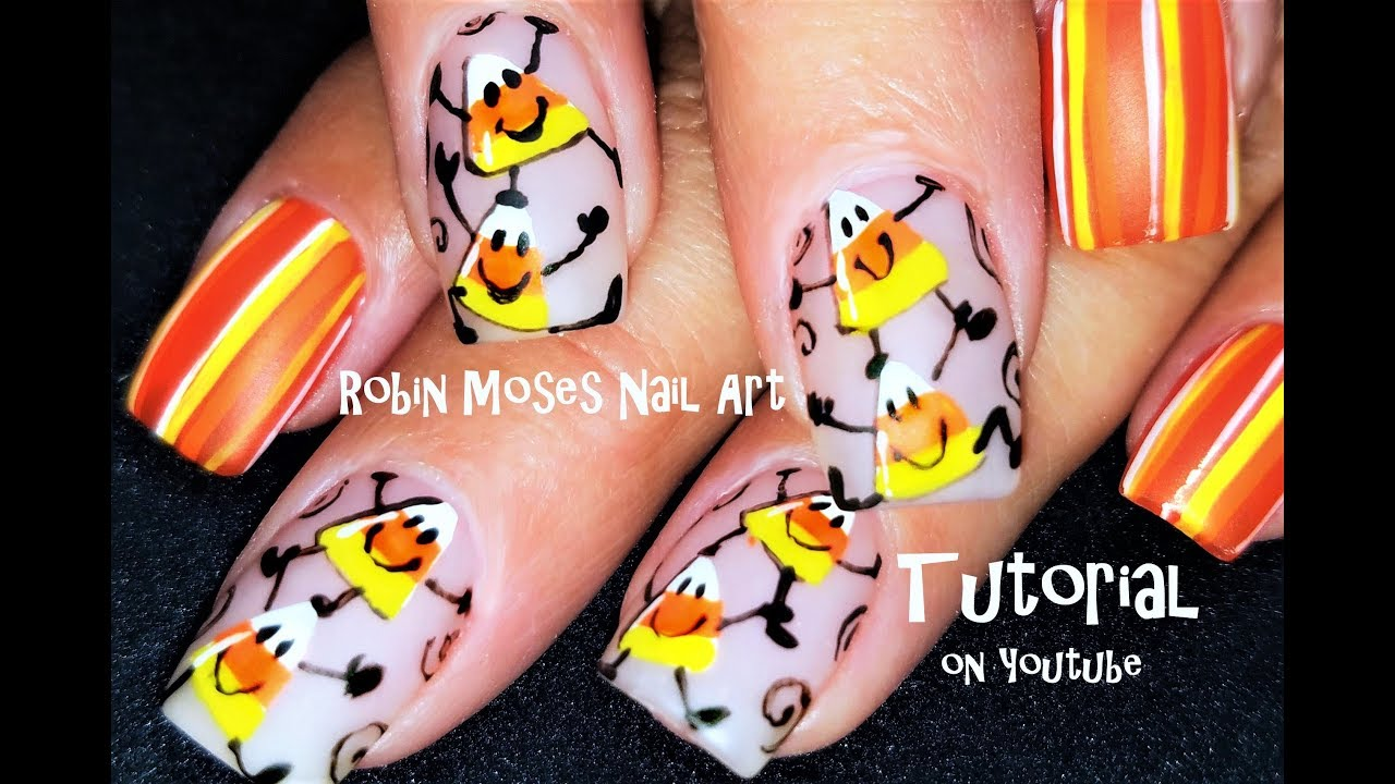 Cute Halloween Candy Corn People Nails | Easy Nail Art ...