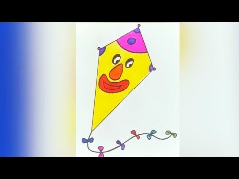 How To Draw Kite Step By Step For Kids How To Drawing A Cute And Cartoon Kite Coloring Page Easy Youtube