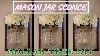 Dollar Tree DIY | FRAMED MASON JAR WALL SCONCE | Farmhouse Decor