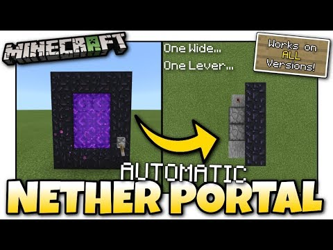 Minecraft Bedrock - AUTOMATIC NETHER PORTAL - 1 WIDE⚡ On & Off ⚡ Tutorial - PS4 / MCPE /Xbox /Switch