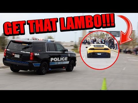 POLICE CHASE SUPERCARS THAT SEND IT & BURNOUT LEAVING CARS AND CANTINA DALLAS!!! - Sinclair Photos