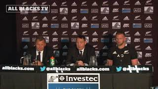 All Blacks v South Africa press conference.