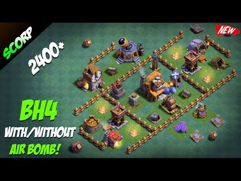 Clash Of Clans - BUILDER HALL 4 BASE/ ANTI 2 STAR/ WITH OR WITHOUT AIR BOMB