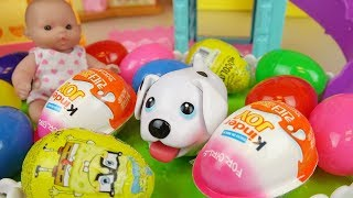 Puppy and Baby doll surprise eggs toys baby Doli park play