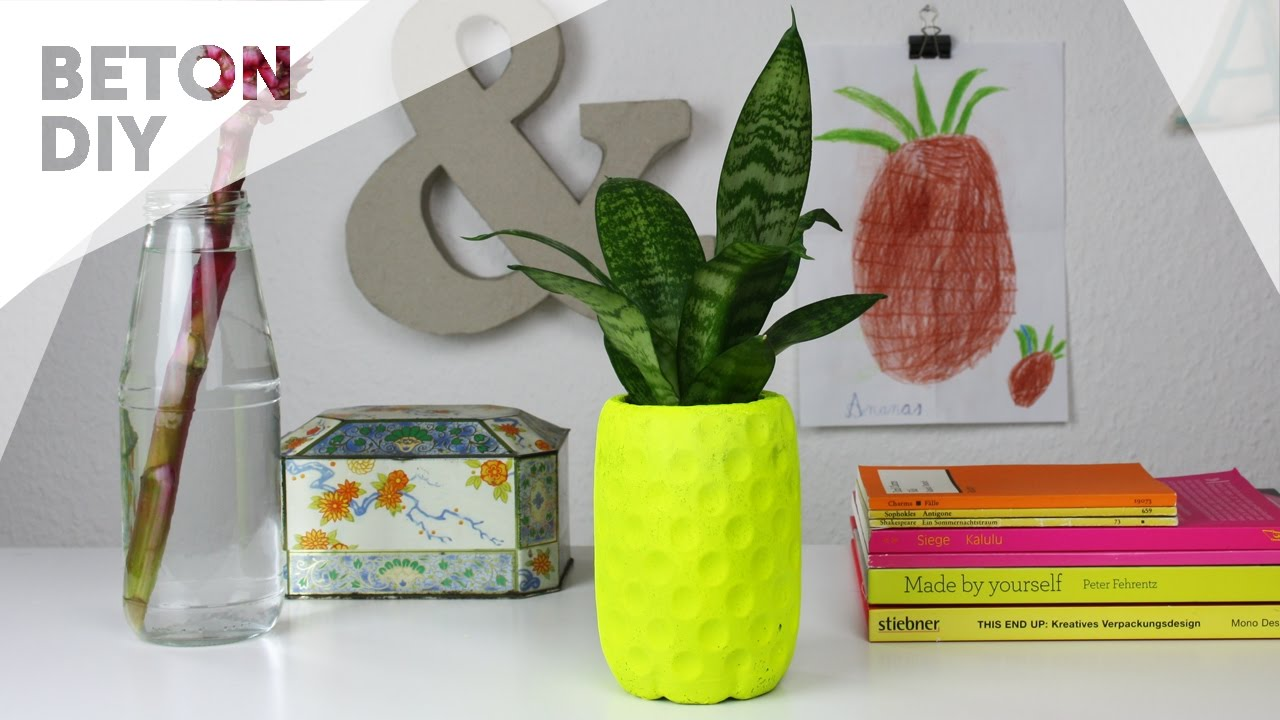 beton diy: neongelber ananas blumentopf - youtube