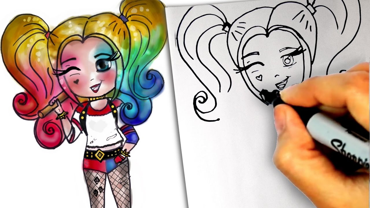 Harley Quinn Drawing: HOW TO DRAW HARLEY QUINN STEP BY STEP Anime Manga Chibi
