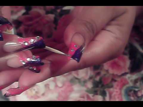 Pink Amp Purple French Manicure Nail Art Design Youtube