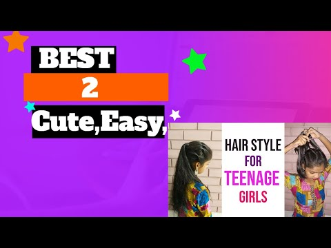 2 Cute,Easy, Quick and Trendy hairstyles for teenage girls. Simple hairstyle. Front hairstyles.