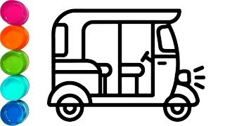 How to Tuk Tuk Auto and Cute Pig - Cute Coloring Pages For Kids - Video for Toddler