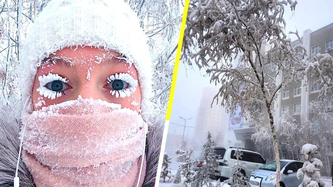 شاهد  درجة حرارة 52 مئوية تحت الصفر في سيبيريا ، روسيا  2021