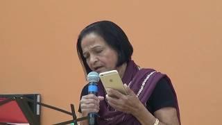 Rekha Joshi singing Karaoke song at Senior Rangmunch on 3/30/2018