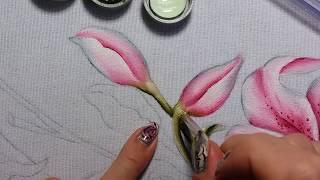 Lírios rosa – folha e botão – Parte 1 – Pintura em tecido