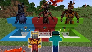 DON'T GO INSIDE THIS FIVE NIGHTS AT FREDDY'S SECRET BASE!! SAVE THE VILLAGERS!! Minecraft