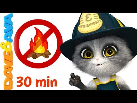 🚒 Five Little Firemen - Fire Truck    Baby Songs and Nursery Rhymes   Dave and Ava 🚒