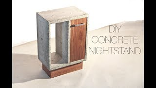 DIY Concrete and Walnut Nightstand