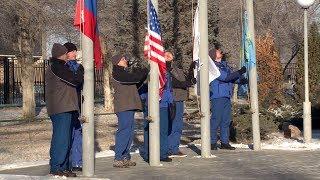 Церемония поднятия флагов на Байконуре