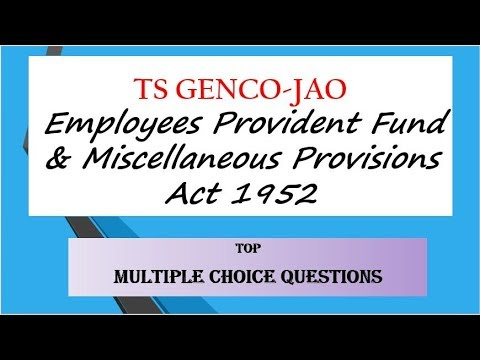 JAO Employees Provident Fund Act 1952 TOP MCQs