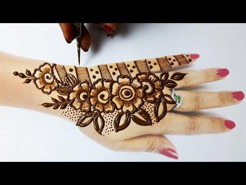 सूंदर मेहँदी डिज़ाइन कैसे लगाएं - Beautiful Mehndi Design on Backhand Step by Step - Stylish Mehndi