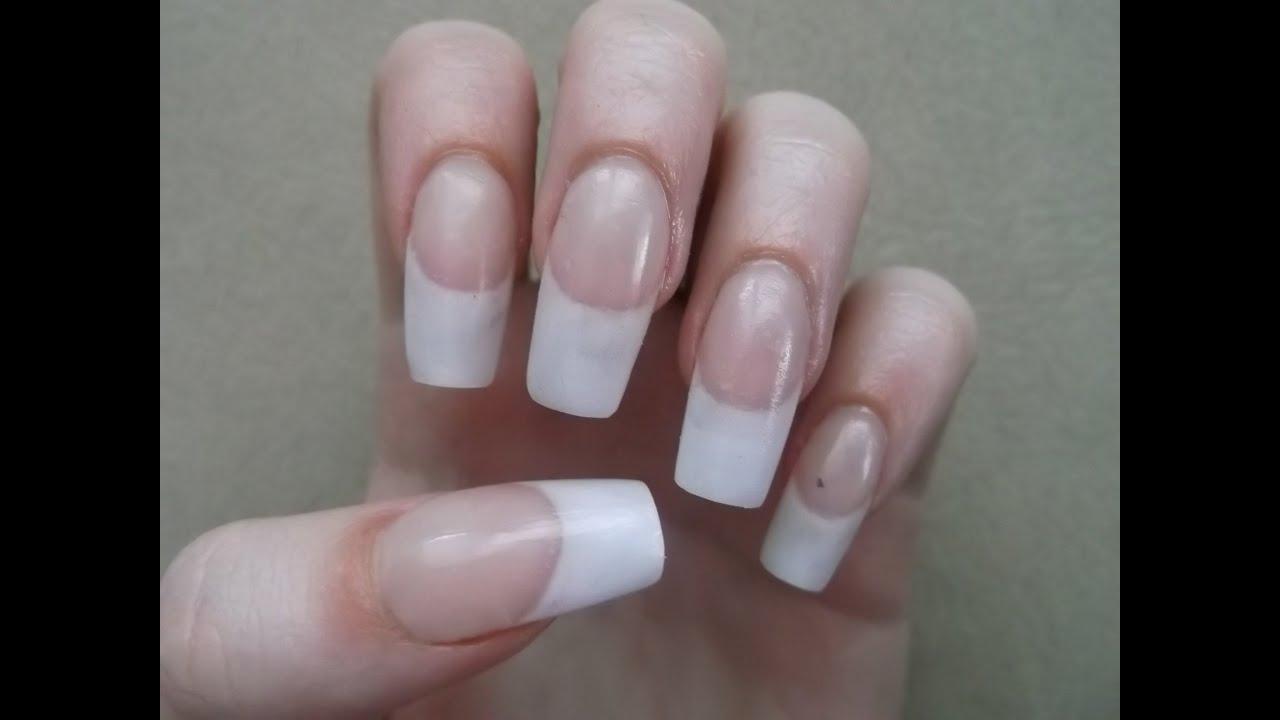Simple White Acrylic French Manicure - YouTube
