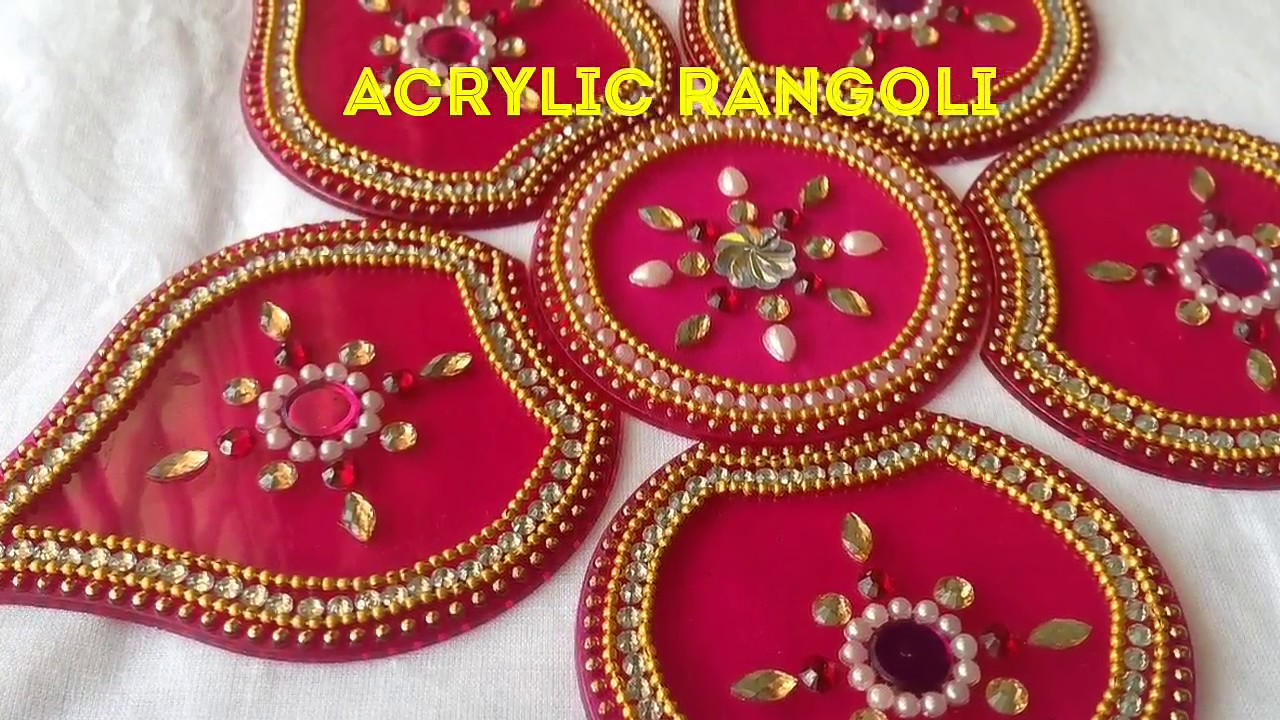 Acrylic rangoli kundan rangoli diy rearrangeable for Home made rangoli designs