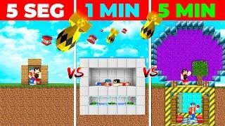 ¡CONSTRUIMOS EL BUNKER MÁS SEGURO de MINECRAFT! 😎⏰ EN 5 SEGUNDOS VS 1 MIN VS 5 MIN 😱 MINECRAFT
