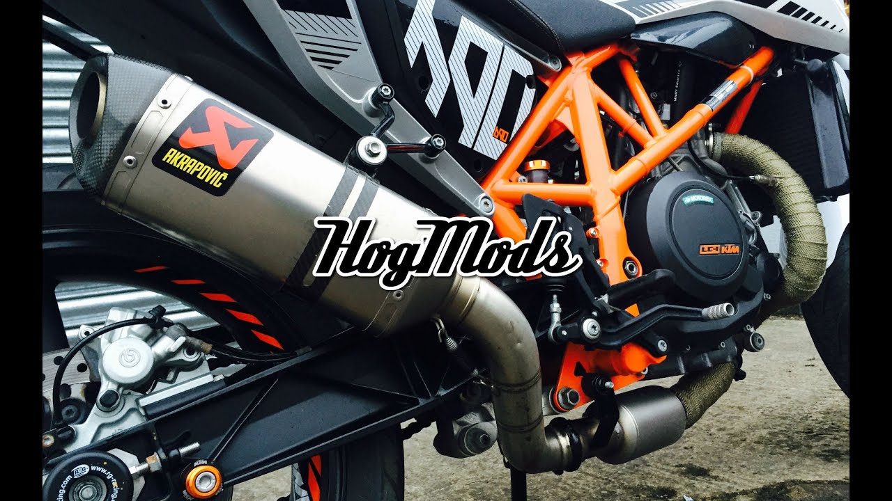 hogmods ktm duke 690 akrapovic with leovince decat pipe. Black Bedroom Furniture Sets. Home Design Ideas