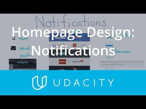 Homepage Design: Notifications    UX/UI Design   Product Design   Udacity
