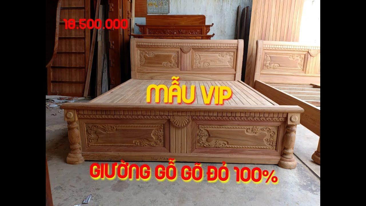 Giường gỗ gõ đỏ 100% mẫu chữ X VIP tại Đồ Gỗ Hố Nai Nam Huy