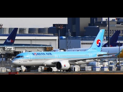 ✈✈A220大韓航空 (Korean Air) Bombardier BD-500-1A11 CSeries CS300 HL7201 Take-off Narita RWY16R 成田空港