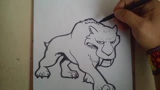 COMO DIBUJAR A DIEGO DE LA ERA DEL HIELO 5 / how to draw a diego ace age 5