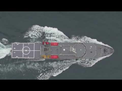 Australia's new Multi-role Aviation Training Vessel on sea trials