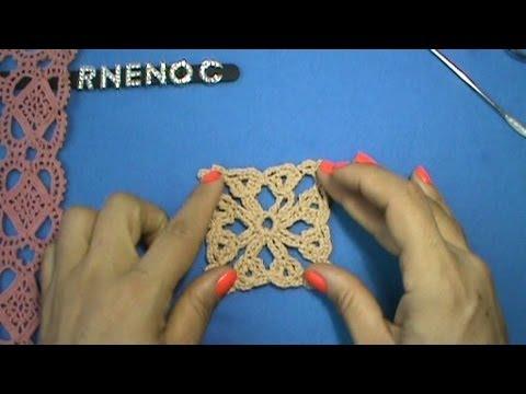 Motivo cuadro con cadenas y punto abanico ganchillo - Muestras y motivos punto de cruz ...