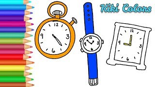 How to Color Clocks Compilation | Teach Drawing for Kids and Toddlers Coloring Page Video
