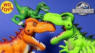 New JURASSIC WORLD TYRANNOSAURUS REX Stomp & Chomp Friends Set Unbox Review By WD Toys