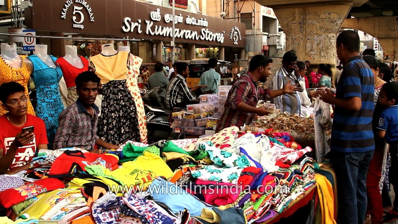 fafc75de Kurtis, dupattas, bags for sale at a street side market in Chennai ...