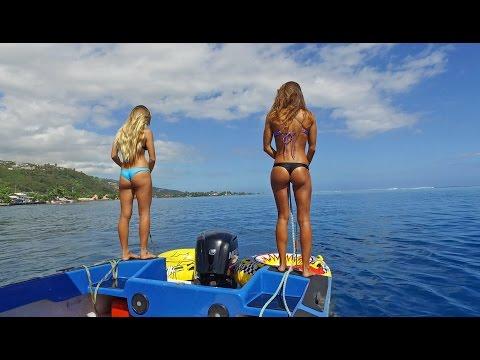 KALOEA Surfer Girls - Tubing in Tahiti  Drone  Funny Wipeouts