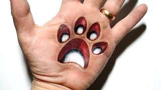 Drawing Paw Print 3D Trick Art on Hand - Mind Trick Surprise
