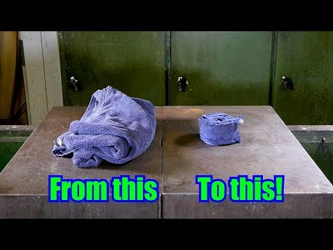 How To Make XL Sized Compressed Towel With Hydraulic Press
