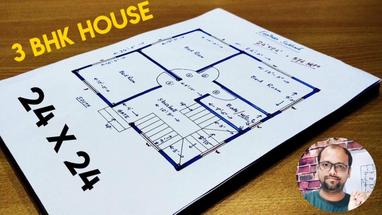 24 X 24 House Plan Ii 24 X 24 Ghar Ka Naksha Ii 24 X 24 Ghar Ka Design Youtube