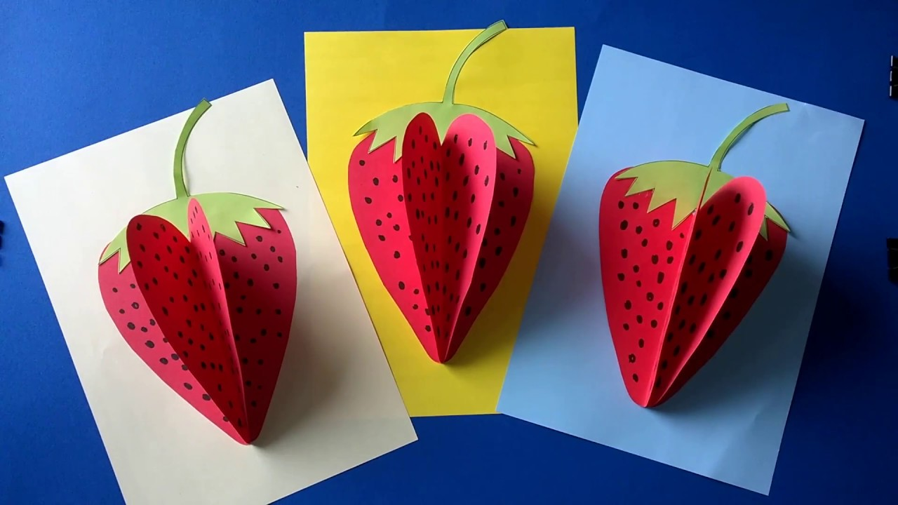 Strawberry paper craft youtube for Youtube art and craft