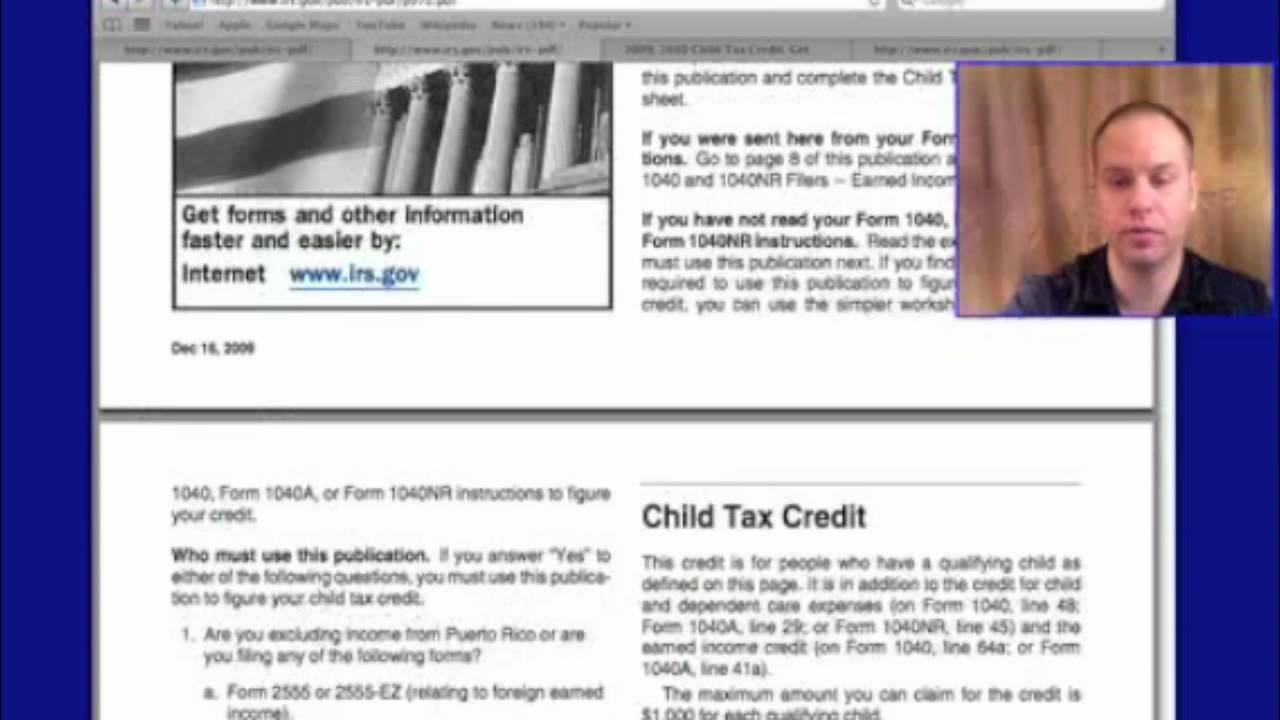 Form 1040 Child Tax Credit for 2012, 2013 - YouTube